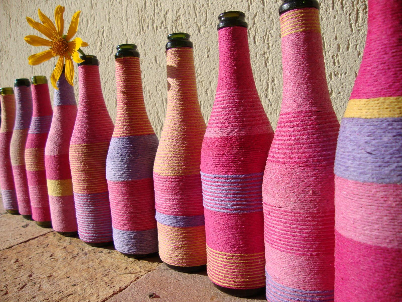 garrafas decoradas Minuto Criança -> Decorar Garrafas De Vidro Com Barbante